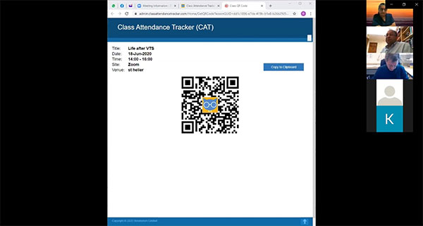 Displaying the Class Attendance Tracker (CAT) QR code during a Zoom session